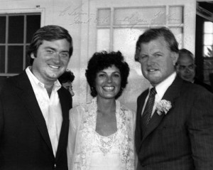 Maureen with Tim and Ted Kennedy on Nantucket, 1981